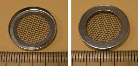 Mesh cap for coin cell
